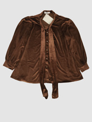 60 70f/21c Women's Brown Velvet Long Sleeve Solid Button Down Cardigan Size S