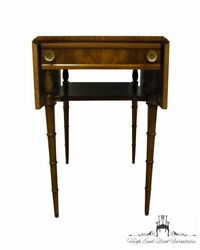 Vintage Antique Mahogany Italian Provincial Style 38 Drop-leaf Accent End Table