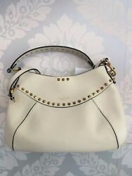 Valentino Ivoire Cuir / Shoulder Bag W / Extra Cloutandeacute Rivets And Chiffon