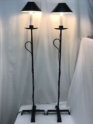 Vtg Floor Lamp Pair Wrought Iron Arts And Crafts Mission Farmhouse Metal Shades