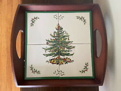 Vintage Spode Christmas Tree Wooden Tray With Tile Insert