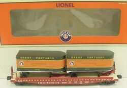 ✅lionel Great Northern Ps-4 Flat Car W/ 20' Pup Piggyback Trailers 6-17583