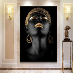 African Woman Canvas Paintings Black Gold Wall Art Posters Prints Picture New