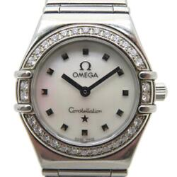 Auth Omega Constellation Mini Quartz Watch Stainless Steel Shell 2302