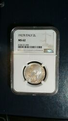 1927r Italy Ten Lira Ngc Ms62 Uncirculated 10l Silver Coin Mislabeled Holder