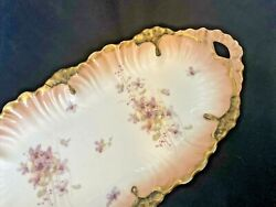 Limoges France Floral China Oval Dish 13andrdquo X 6andrdquo Antique Scalloped Oblong Serving