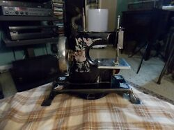Antique Casige Germany Mini Pressed Steel Childs Sewing Machine Working As Shown