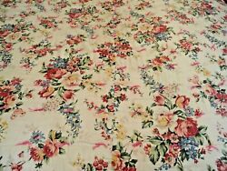 Farmhouse French Country Vintage Whole Cloth Tied Quilt Floral Soft Colors