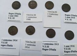 1903 - 1916 Kingdom D'italia 8 Coins From A Cent Of Vittorio Emanuele Iii