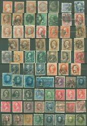 Us Small Lot Of Used 19th Century Stamps On 2 Pages + 158 On Cover, Scv 1640
