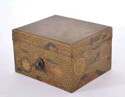 1900's Japanese Makie Lacquer Wood Carved Carving Box