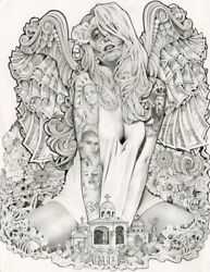Money Angel By Mouse Lopez Mexican Girl Tattoo Black And White Canvas Art Print