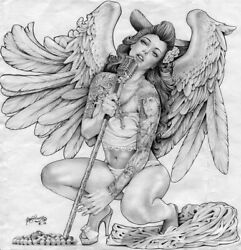 Singing Angel By Mouse Lopez Mexican Girl Tattoo Black And White Canvas Art Print