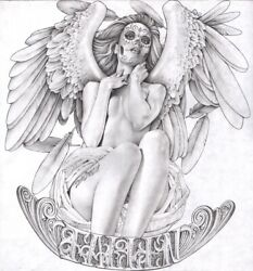 Fallen By Mouse Lopez Mexican Angel Girl Tattoo Black And White Canvas Art Print