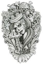 Mouse's Crown Mouse Lopez Mexican Girl Tattoo Black And White Canvas Art Print
