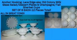 Anchor Hocking 12 Lace Edge Old Colony Milk Glass Sherbet Bowls And Cake Plates