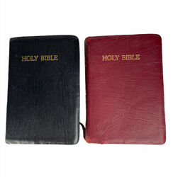 Two Holman Kjv Bibles Jewel Reference Ed Bible French Morocco Black Red Leather