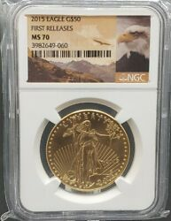 2015 American Gold Eagle 50 Ms70 Ngc 1oz Coin Rare Eagle Label First Releases