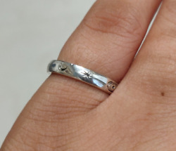 925 Sterling Silver Spinner Ring Band Hand Engraved Solar System Star Stacking
