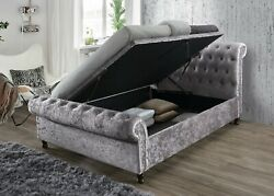Luxury Fabric Side Lift Button Sleigh Bed With Gas Lift Storage 4ft6 5ft 6ft
