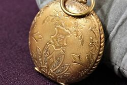 Elgin Art Deco Indian Manual Winding Watch Pocket Watch Antique Gold Plated