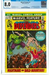Marvel Feature 2 The Defenders Marvel, 1972 Cgc Vf 8.0 White Pages.