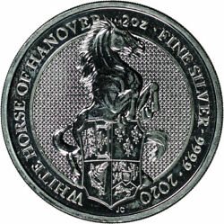 2020 U.k. Andpound5 Queenand039s Beasts White Horse Of Hanover 2 Oz .999 Fine Silver Coin