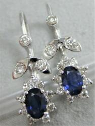 Estate Pave Diamond Sapphire 14kt W Gold Floral Halo Cluster Earrings E1368.12
