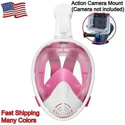 Full-face Dry Snorkeling And Free-diving Mask 180 Degree Anti-fog W/ Camera Mount