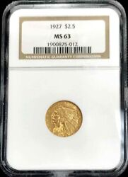 1927 Gold United States 2.5 Indian Head Quarter Eagle Coin Ngc Mint State 63