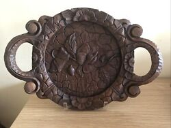 Vintage  Large Hand Carved Wood Serving Tray, Circa 1970