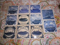 Vintage Holland America Line Blue On White Tiles Coasters, 11 Count