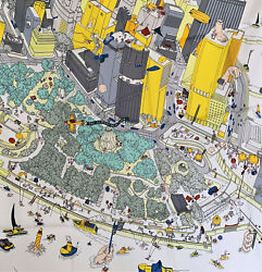 Nwt Hermes Silk Scarf The Battery New York 35x35 Grey White Yellow