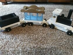 Vintage Wooden Train Set One Wooden Locomotive Two Train Cars Very Good Conditi