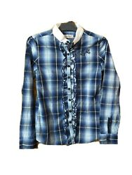 Guess Jeans Shirt Size 2xs Check Blue Cotton Long Sleeve Collared 76a