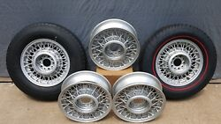 15 Inch Wire Wheels Set Of 5 Powdered Coated Silver Metallic