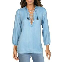 Scotch And Soda Womens Blue Denim Lace Up 3/4 Sleeves Tunic Top Blouse S Bhfo 1640