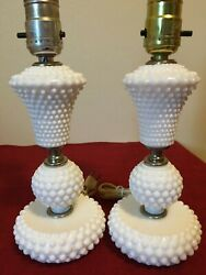 2 Matching Vintage Leviton White Milk Glass Hobnail Table Lamps Made In Usaandnbsp