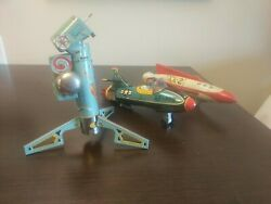 Vintage 1950andrsquos Japan Tin Spaceships And Rocket Sold As Is
