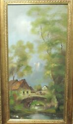 O.schmidt Country House Original Landscape Oil On Canvas Painting
