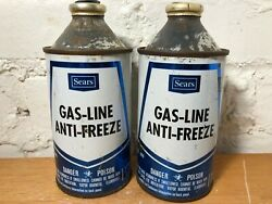 Vintage Sears Gas Line Anti Freeze Tin Cans - Lot Of 2 - Empty