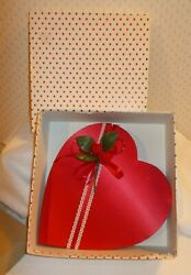 Vintage Price Heart Candy Box Red Satin Red Baby Roses Valentine's Day 9 Empty