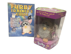 1998 Furby Brown/grey Long Hair Fur With Gray Eyes And Pink Ears Open Box