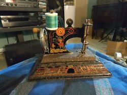 Antique Casige Germany Robin Hood Mini Pressed Steel Childs Sewing Machine Works