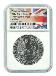 2017 U.k. Andpound5 Silver Queenand039s Beasts Red Dragon 2oz Ngc Ms70 Flag Label