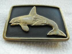 Rare Early 1977 Anacortes Brass Works Orca Killer Whale Solid Brass Belt Buckle