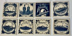 Set Of 8 Holland America Cruise Line Blue Delft Tiles Coasters