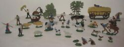 Old 28 Pc German Lead Flats Farm Village - Trees Animals Workers By Heinrichsen