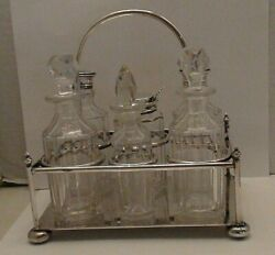 Antique Silver Plate Cut Glass Cruet Set And Holder Marked And Tested