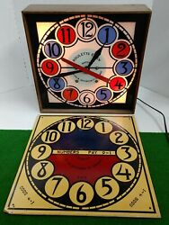 Vintage 1950's Electric Lighted Clock/ Roulette Wheel 218-230 Chicago Works Rare